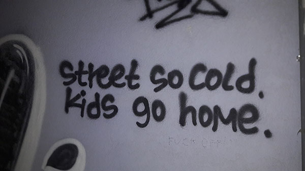 Streets so cold. Kids go home.